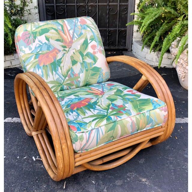 Fabulous 1950's Bent Rattan Adjustable Triple Banded Bamboo Lounge Chair