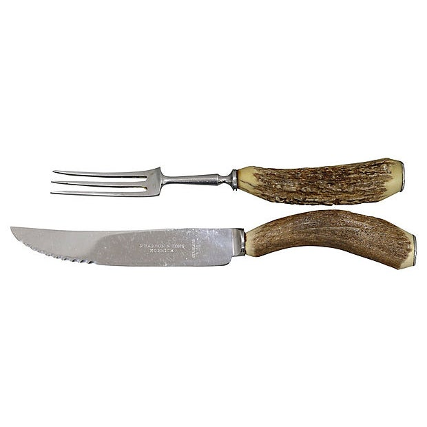 "English natural stag-horn handle steak cutlery. Sheffield stainless steel sharp blades. Dimensions: knife, 8.5""L x 1""W x..."