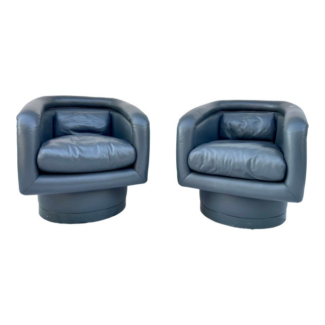 Postmodern Leon Rosen Style Swivel Tub Chairs - a Pair For Sale