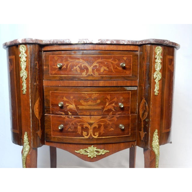 French 19th C. Italian Marquetry Marble Top Inlaid Table For Sale - Image 3 of 11