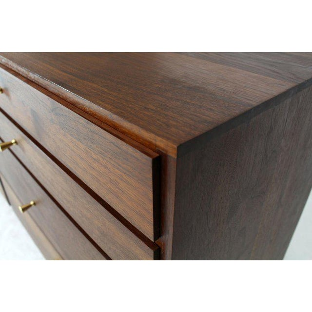Gold Solid Oiled Walnut Seven Drawers Double Dresser Brass Pulls Tapered Legs For Sale - Image 8 of 13