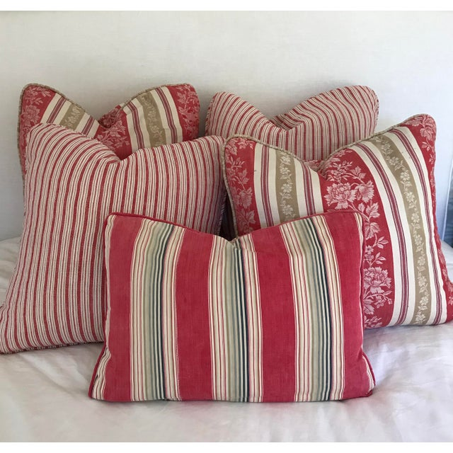 Textile Vintage French Ticking Stripe Pillow Covers in Red - a Pair For Sale - Image 7 of 8