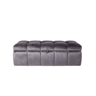 Purple Tufted Storage Ottoman For Sale