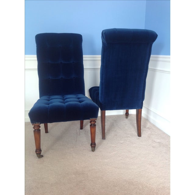 Barclay Butera Velvet Tufted Dining Chairs - Pair - Image 3 of 8