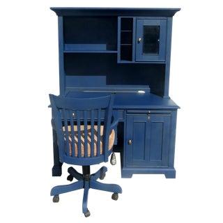 Navy Blue Executive Desk & Chair - a Pair