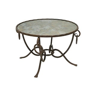 French Mid-Century Round Gilt Iron Table With Mirrored Top by René Drouet