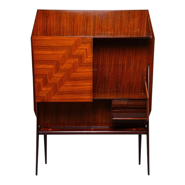 Mid Century Italian Free Standing Rosewood Wall Unit With Marquetry For Sale