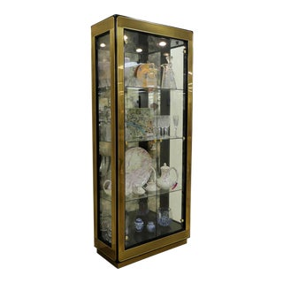 Mastercraft Brass & Glass Curio Display Cabinet or Vitrine For Sale