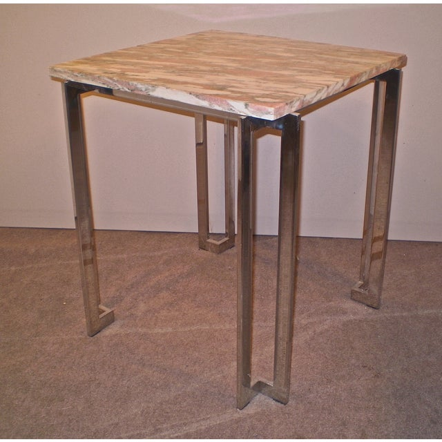 Chrome & Marble Occasional Table - Image 3 of 5