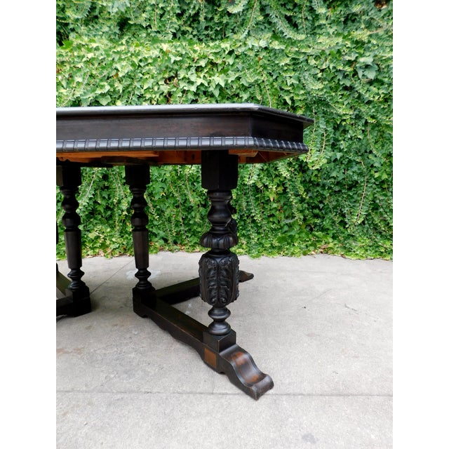 1940s Antique Spanish Revival Carved Dining Table For Sale - Image 5 of 12