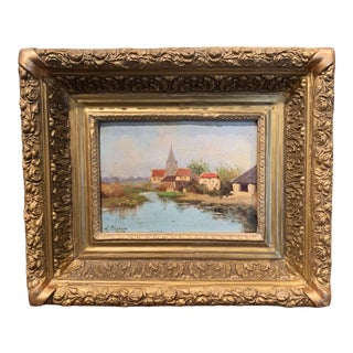 19th Century French Oil on Board Painting in Gilt Frame by E. Galien-Laloue For Sale