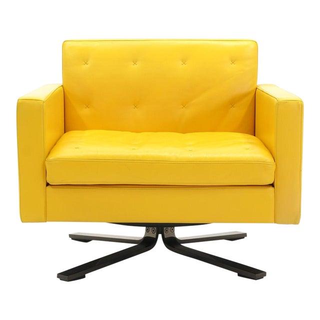Poltrona Frau Yellow Leather Memory Swivel Lounge Chair - Image 1 of 11
