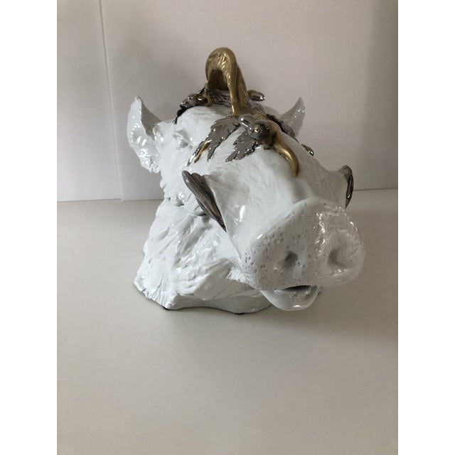 1960's Gold and Silver Accented White Wild Boar Tureen by Magnani For Sale - Image 4 of 13