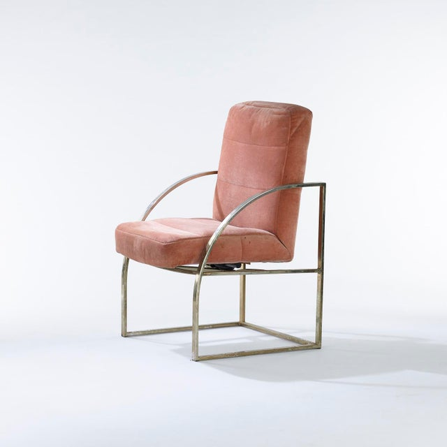Set of four brass upholstered Milo Baughman for Thayer Coggin chairs with rocking mechanism, circa 1970s Each chair...