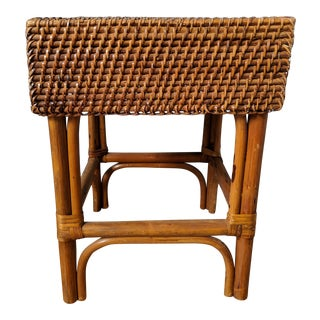 20th Century Boho Chic Bamboo and Rattan Side Table / Stool