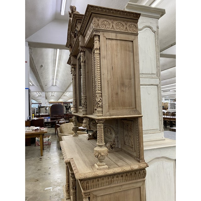 19th Century French Renaissance Bleached Walnut Cabinet For Sale - Image 12 of 13