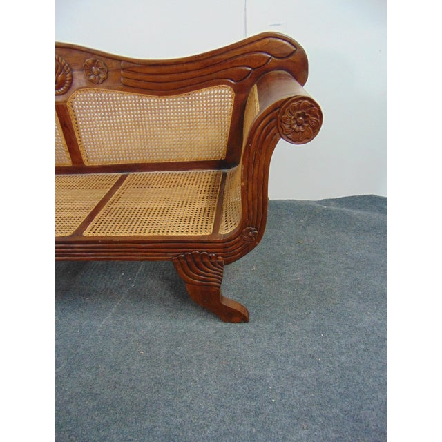 English Anglo Indian Carved Mahogany & Cane Sofa For Sale - Image 3 of 7