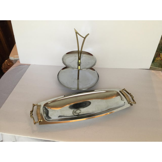 1950s 1960s Space Age Brass Serving Trays - Set of 2 For Sale - Image 5 of 13