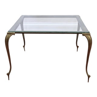 Vintage Brass and Glass Regency Style Coffee Table For Sale