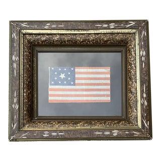 Framed Antique 13 Star Centennial Parade Flag Circa 1876 For Sale