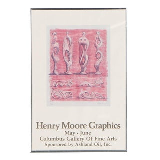 Vintage 20th C. Poster Lithograph-Henry Moore-Signed in Plate For Sale