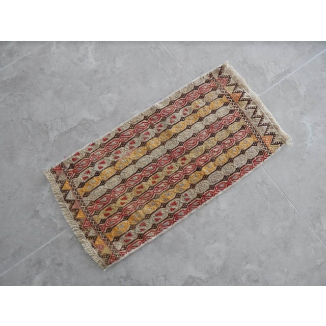 Islamic Masterwork Hand-Woven Rug Braided Small Kilim For Sale - Image 3 of 8