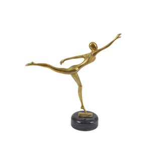 1960s Vintage Brass Ballerina Dancer Figurine / Sculpture For Sale