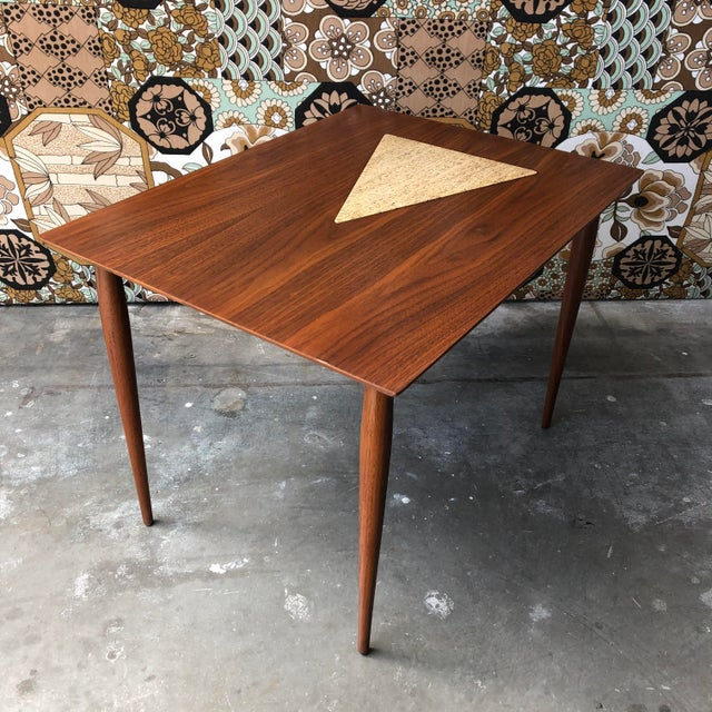 Vintage Mid Century Modern End Table With Travertine Inlay. For Sale - Image 10 of 10