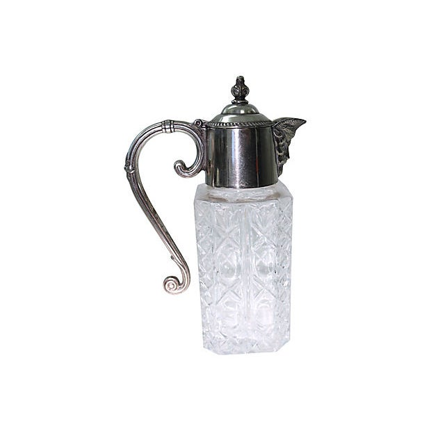 Early 20th Century Heavy Crystal & Silver-Plate Decanter For Sale - Image 5 of 5