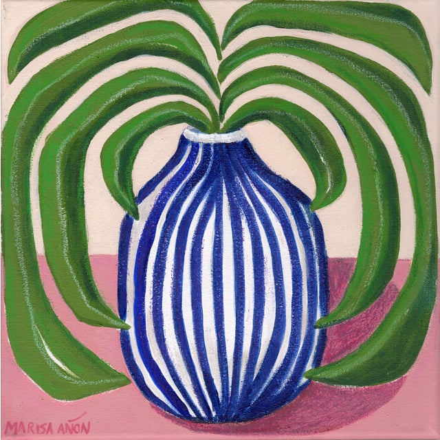 """Vase With Blue Stripes"" Contemporary Still Life Mixed-Media Painting by Marisa Añón For Sale"