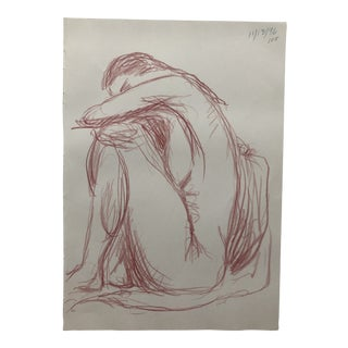 Pensive Female Nude Drawing by James Bone 1990s For Sale