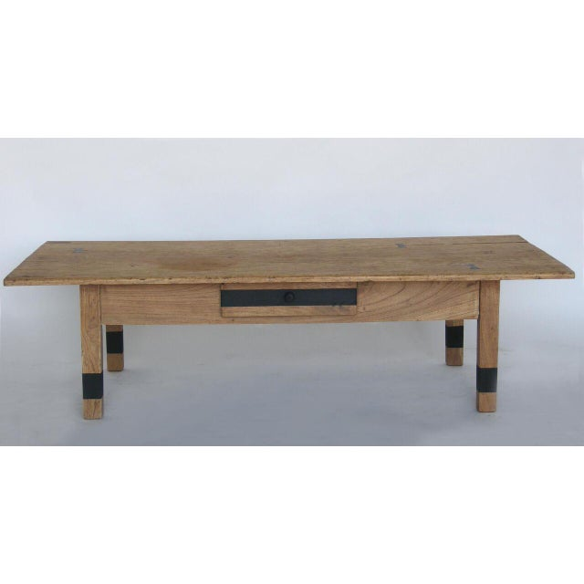 Rustic Striped Wood Coffee Table with Drawer with Butterfly Joinery For Sale - Image 3 of 10