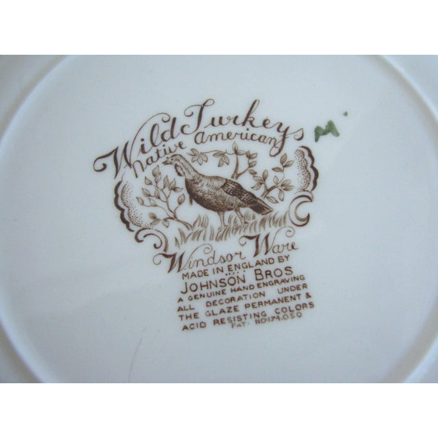 Mid 20th Century Johnson Brothers Wild Turkeys Native American Dinner Plates - Set of 6 For Sale - Image 10 of 11