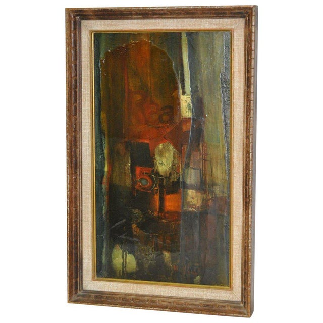 """Black 1960's Gordon Corson """"Cargo East"""" Vintage Acrylic Painting For Sale - Image 8 of 8"""