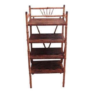 Antique Victorian Bamboo Display Shelf Bookcase ~ 4 Shelves For Sale