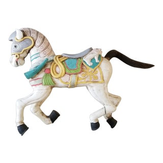 Vintage Carved Wood Hand Painted Carousel Horse For Sale