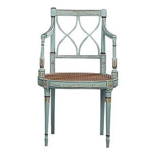 Antique Sheraton Style Polychrome Armchair