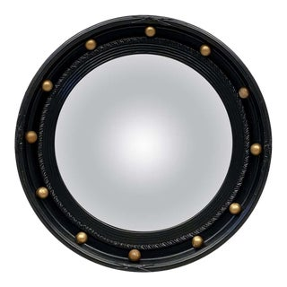 English Round Ebony Black and Gold Framed Convex Mirror (Diameter 15 7/8) For Sale