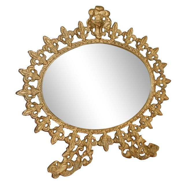 Vintage Standing Gilt Vanity Mirror For Sale