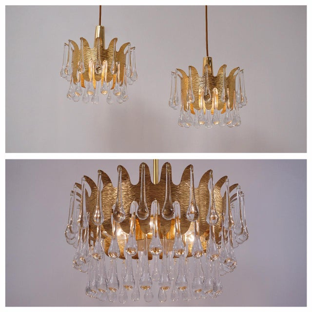 Ernst Palme Pendants for Palwa Gilt Brass & Crystal, 1960's, German - a Pair For Sale - Image 12 of 13