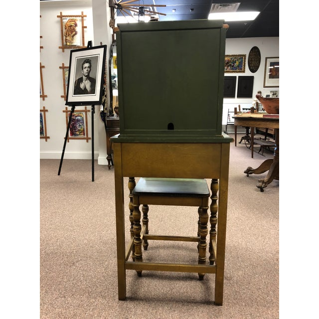 1920s Americana Green Wooden Telephone Table For Sale - Image 4 of 11