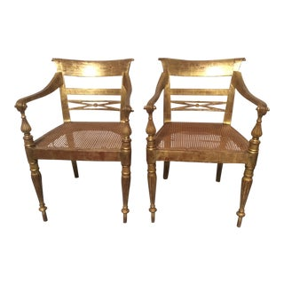 Colonial Anglo Inspired Giltwood Armchairs - a Pair For Sale