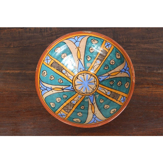 Abstract Antique Moroccan Handcrafted Pottery Bowl For Sale - Image 3 of 5