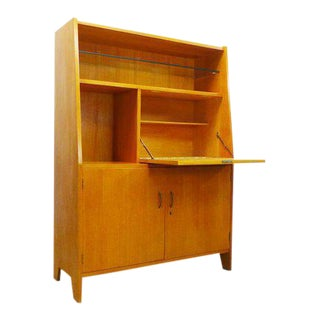 Mid Century Modern 1960's Oak Locking Secretary Desk Liquor Cabinet Bar For Sale