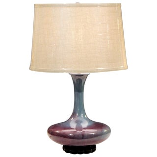 Royal Haeger Hickman Blue Flambe Glaze Art Deco Pottery Vase Lamp Vintage For Sale