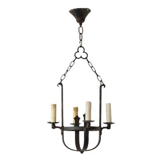 Mid 20th Century Basket Form Iron Chandelier For Sale