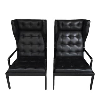 Art Deco BoConcept Black Tufted Leather Chairs - a Pair