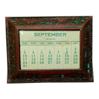 Tiffany Studios Pine Needle Desk Flat Calendar Page with Green Glass For Sale