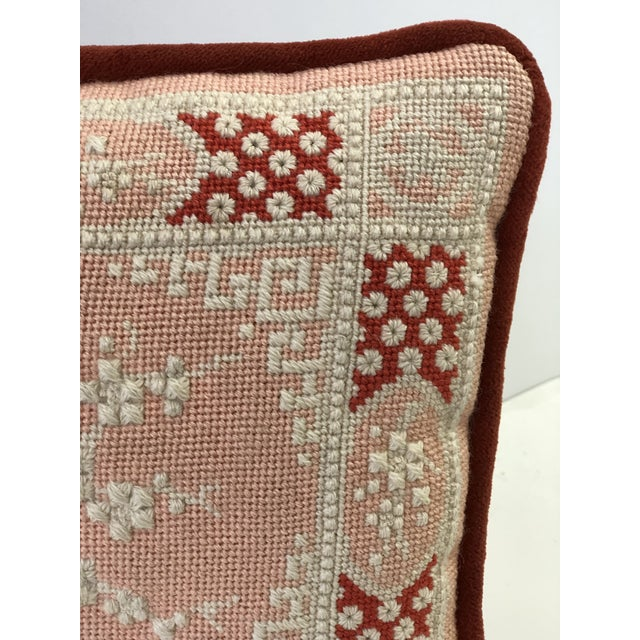 Vintage Cherry Blossom Needlepoint Pillow in Blush and Coral For Sale - Image 9 of 11