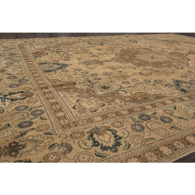 "Apadana Vintage Tabriz Rug - 9'4"" x 12'5"" For Sale In New York - Image 6 of 6"